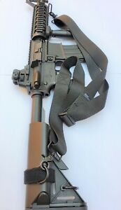 1.5quot; Wide 2 point Metal Snaps BLACK Sling for Rifle Airsoft with Free Carabiner $10.75