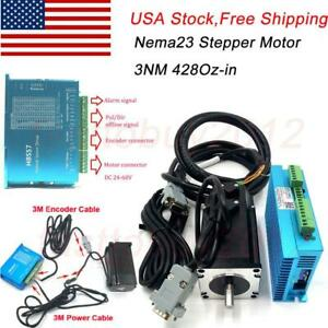 428oz in Closed Loop Stepper Motor Nema23 3nm Hybrid Servo Driver For Engraving