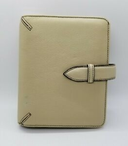 Compact Franklin Covey Planner Beige Soft Full Grain Leather 1 Rings