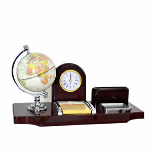 Desk Organizer Office Table Top Set Fine Wooden Globe clock pen Holder Included
