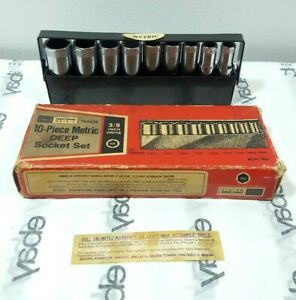 Vintage Craftsman V Series Metric Deep Well Socket Set 3 8 Drive Metal Tray