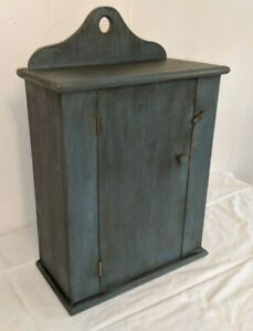 Antique Vintage Primitive Blue Painted Pine Hanging Wall Cupboard Cabinet