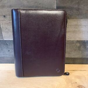 Franklin Covey Burgundy Top Grain Cowhide Leather Planner 7 Ring Zipper Binder