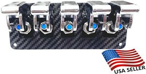 5 Hole Real Carbon Fiber Panel W 5 Blue Led Toggle Switches And Chrome Covers