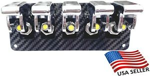 5 Hole Real Carbon Fiber Panel W 5 Yellow Led Toggle Switches And Chrome Covers
