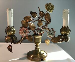 Antique French Bronze Ormolu Lamp Tole Porcelain Flowers Marked Oof
