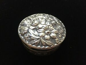 Antique Sterling Gorham Floral Repousse Covered Vanity Pill Box Jar 419