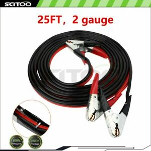 Heavy Duty 25 Ft 2 Gauge Booster Jumping Cables Power Battery Jumper 1000amp