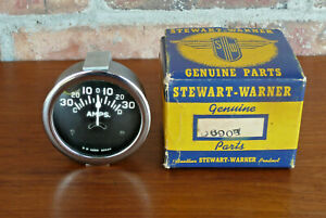 Nos Vintage 1961 Stewart Warner 30 30 Amp Gauge Tulip Needle Curved Glass W box