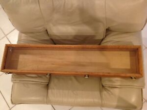Large Vintage Wood And Glass Counter Display Case For Sword memorabilia