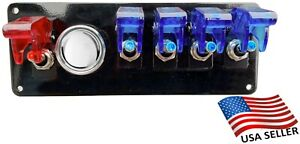 12v Switch Panel Black Powder Coat 4 White 1 Red Switch Chrome Push Start Button
