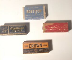 Vintage Lot Of 4 Boxes Of Staples Bostitch Swingline Crown Aceliner