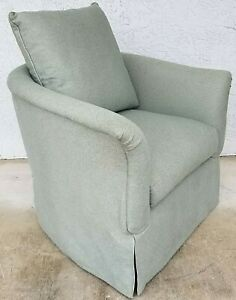 Lovely Skirted Marge Carson High Profile Lounge Club Chair