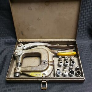 Vintage Whitney Jensen No Xx Hand Hole Punch With Dies Punches Metal Case