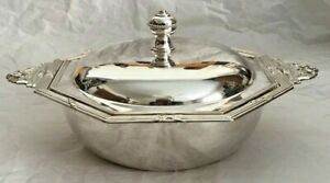 Elegant Solid Sterling Silver 800 Two Handled Covered Serving Dish Bowl 2 Of 2
