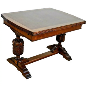 Oak Refectory Table Italian Pedestal Legs Drop Down Hidden Draw Leafs Antique
