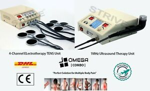 Therapeutic Ultrasound Therapy 1mhz 4 channel Electrotherapy Machine Combo