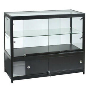 Assembled Black Display Case With 8 Halogen Light 47 25 W X 19 67 D X 38 H Inch