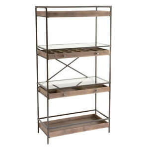 Mixed Material Shelving Units 32 75 W X 15 8 D X 61 5 H Inches With Wood Drawers