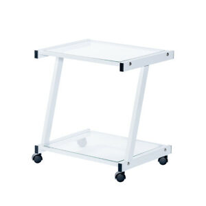 New White Metal Clear Glass Mobile Computer Printer Cart On Wheels 2 Level