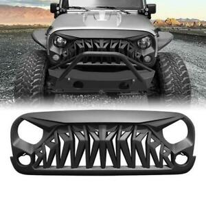 For 2007 2018 Jeep Wrangler Jk Shark Style Matte Black Front Upper Grill Grille