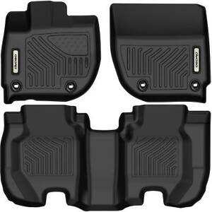 Oedro Floor Mats Liners Tpe Fit For 2015 2020 Honda Fit All Weather Black F R
