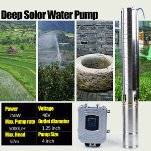 New 4 Dc Deep Bore Well Solar Water Pump 48v 1hp Submersible Mppt Controller Us