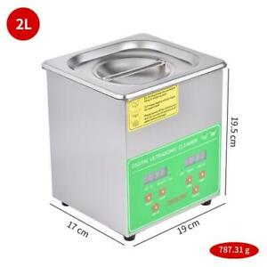 2l Stainless Steel Ultrasonic Cleaner Heater Heated Cleaning Machine W Timer