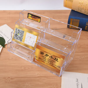 8 Pocket Desktop Business Card Holder Clear Acrylic Countertop Stand Display Je
