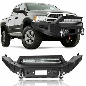 Steel Front Bumper Guard Led Lights Winch D Rings For 13 18 Dodge Ram 1500