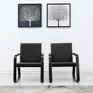 2 Pcs Reception Room Chair Office Guest Waiting Room Pvc Leather Foam Steel