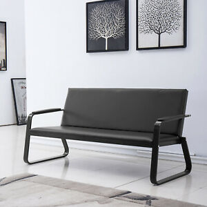 Reception Room Bench Chair Office Guest Waiting Room Pvc Leather Foam Steel Sofa