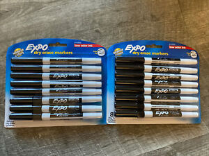 Lot Of 2 Packs Expo Dry Erase Markers Black Intense Colors Ink Fine Tip 8 Pack