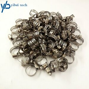 100pack 1 2 3 4 Adjustable Stainless Steel Drive Hose Clamps Fuel Line Worm Us