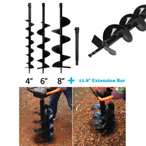 4 6 8 Earth Auger Post Hole Borer Ground Drill Bits Extension Rod For 52cc