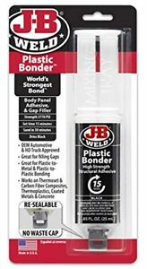 J b Weld 50139 Plastic Bonder Body Panel Adhesive And Gap Filler Syringe Black