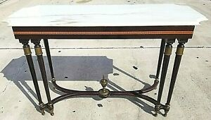 Vintage Neoclassical Wood Brass Italian Marble Console Sofa Entryway Table