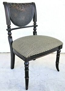 Solid Wood Faux Bamboo Chinoiserie Double Caned Back Desk Accent Dining Chair