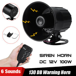 Alarm 6 Sound Car Warning Police Fire Siren Horn Loud Speaker Mic System 100w
