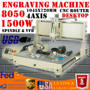 Mini Usb 4 Axis Cnc 8050 Router Metal Engraving Cutting milling Machine 1 5kw Ce