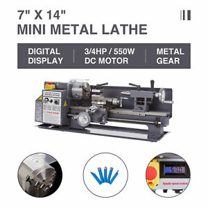 7 X 14 550w 3 4hp Mini Metal Lathe Metal Gear Digital Display Metalworking New