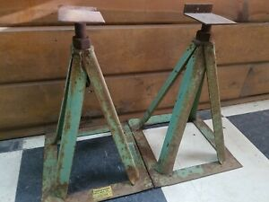 Vintage 12 Steel Jack Stand Set Of 2