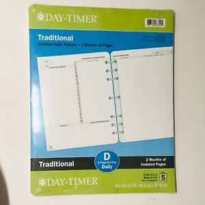 Day timer Undated 2 page per day Daily Planner 8 5x11 Traditional Refill Size 5