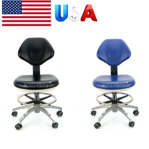 Dental Doctor Assistant Stool Adjustable Height Mobile Chairs Pu Leather Usa