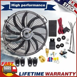 12v 16 Inch Electric Radiator Cooling Fan High Cfm Thermostat Relay Switch Kit