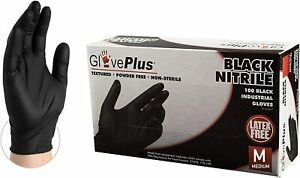Gloveplus Nitrile Disposable Industrial Gloves Black M Box Of 100