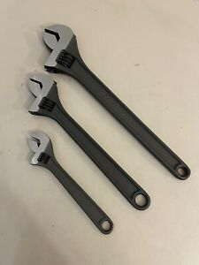 Cat Caterpillar Tools By Snap On 3pc Adjustable Wrench Set 8 12 15