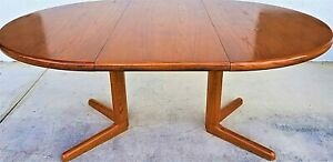 Vintage Mcm Teak Expandable Oval Dining Table Danish Modern Scandinavian