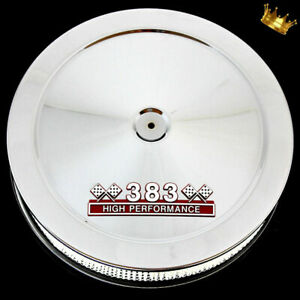 Chrome Big Block Mopar Air Cleaner With Red 383 Emblem Fits 383 Mopar Engines