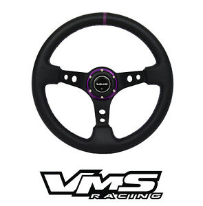 Vms Racing Universal 6 bolt 350mm Leather Purple Deep Dish Steering Wheel